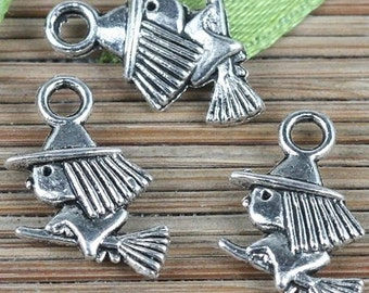 1 Witch Charm, Halloween Charms, Spell Charms, Witch Supplies, Halloween Supplies, DIY Charms, Silver Charms, Jewelry Supplies, Charms