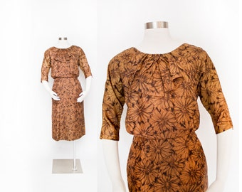 Vintage 1950s Dress -Brown & Black Floral Acetate Wiggle Dress 60s- Small