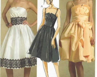 Womens Strapless Cocktail Dress Bouffant Skirt OOP McCalls Sewing Pattern M5382 Size 12 14 16 18 Bust 34 36 38 40 UnCut Prom or Bridesmaid