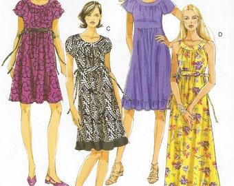 Womens Empire Waist Summer Dress OOP Butterick Sewing Pattern B5348 Size 8 10 12 14 Bust 31 1/2 to 36 UnCut Boho Summer Dress