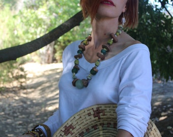 ANTIGUA RITUAL Tribal Clay, Sea Glass and Stone Statement Necklace