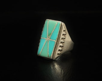 """Vintage Turquoise Ring Large Mens Size 13.5 Signed """"K"""" Turquoise Inlay Sterling Silver"""