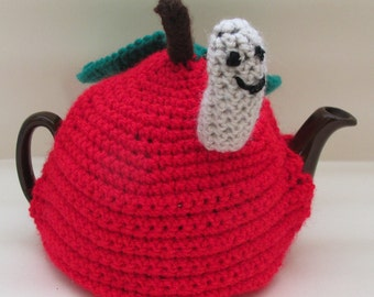 Crochet Apple and Worm Tea Cosy - For Small Teapot - Ready to Ship