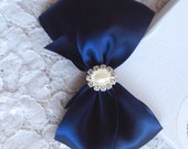 Navy Satin Hair Bow with Rhinestone, Pearl Center, Navy Blue Flower Girl Hair Bow, Hair Bow, Navy Satin Pageant Bow, Christmas Hair Bow