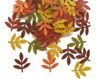 50 pcs. Autumn Leaf Fronds, Punch Cut Embellishments, Confetti