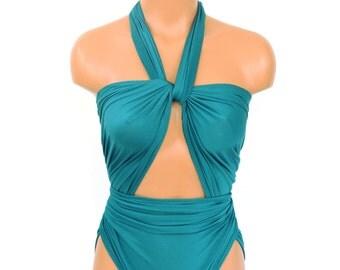 Bathing Suit XL Turquoise Green Wrap Around Swimsuit One Wrap Plus Size Swimwear One Piece Swimsuit High Waisted Bikini Plus Size hisOpal
