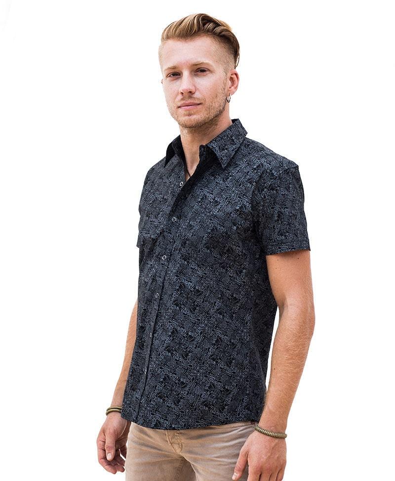 Black cotton button up shirt for men mayan inspired by for Cotton button up shirt