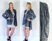 for Marcy vtg 80s GUNMETAL silver+black DRAPED KIMONO os jacket disco retro glam tuxedo tail avant garde puff sleeve