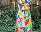 1980s Vintage Hawaiian Print Tropical 50s style Resort Summer Rockabilly Sundress with Belt & Spaghetti Straps  / XS Small