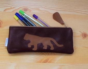 Leather pencil case,leather pencilcase,leather pouch,brown leather,brown pencil case,leopard,animal pencil case,cheetah pencil case,puma
