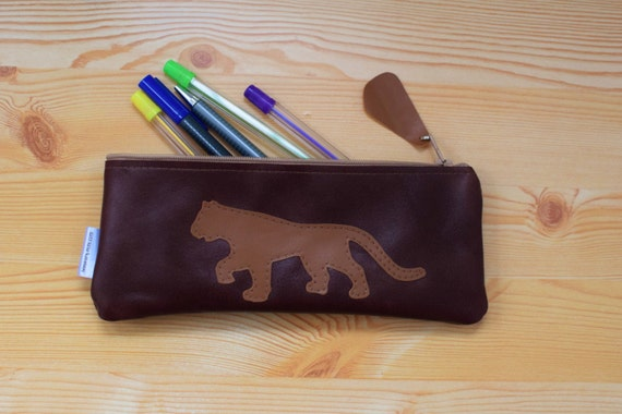 Leather pencil case,leather pencilcase,leather pouch,brown leather,brown pencil case,leopard,animal pencil case,cheetah pencil case,puma