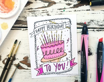 Coloring Postcard, happy birthday, handdrawn postcard, illustrated coloring