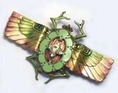 Upcycled Handmade OOAK Beetle Scarab brooch, scarab pin, scarab jewelry, one of a kind, beetle brooch, beetle pin, recycled, Lizones Jewelry