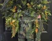"""READY to SHIP- Delivery-Patriotic Memorial-Labor Day Wreath-""""Soldier Salute""""-MASSIVE 54""""-Petals & Plumes Original Design-Ready Made"""