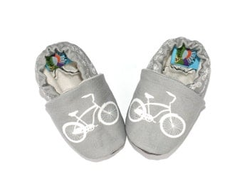Bicycle Baby Shoes- Eco Friendly Unisex Cruiser Gray Bike - Slippers 0 3 6 12 18 months - Baby Clothes Gift for Baby
