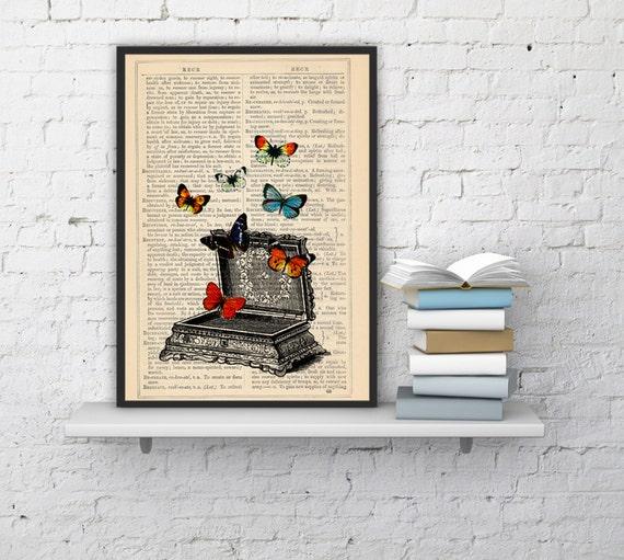 Christmas Sale Upcycled Art Print -Vintage jewell box with butterflies- Pandoras box -collage Print BFL027