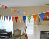 Extra Long Banner with Large Flags/ Fabric Party Banner / Fabric Banner by the Yard / Bright Colors/ Carnival Circus Festival or Weddings