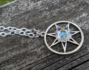 White Prism Faery Star Fairy, Faerie Septagram, Seven Pointed Star Necklace, Gamer of Thrones, Pagan, Wiccan, Pewter Druid , Hedge Witch
