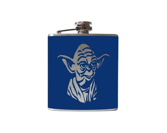 Yoda Flask- alcohol, liquor, booze, Star Wars, hip- whiskey,  Pick your COLOR!