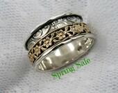 Spinner ring. Sterling silver gold floral spinner ring. Wide spinner ring. Unique spinner ring. Birthday gift (gsr-7051-966-972-965).