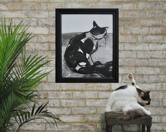 Original Cat Painting Ink on Canvas