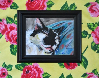Original Sleeping Cat Painting Acrylics on Canvas