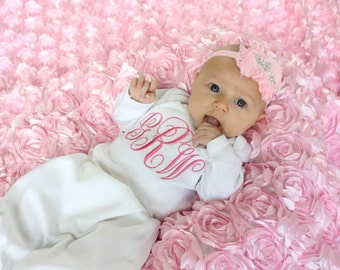 Newborn Girl Outfit Newborn Girl Clothes Take Home Outfit Monogram Baby Hospital Gown Coming Home Outfit Monogram Baby Girl Gift