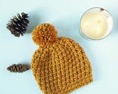 SEATTLE HAT / Chunky Crochet Hat / Crochet Pom-Pom Hat / Winter Hat