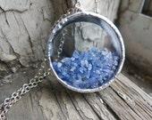 Blue Sapphire Shake Necklace Raw Rough Gemstone September Birthstone Crystal Girlfriend Wife Valentine's Day Gift