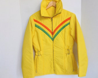 Retro Ski Bunny Jacket Parka Coat Yellow with Green and Orange Chevrons