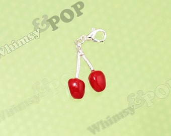 1 - SALE 3D Silver Plated Juicy Red Cherry Charms, Strawberry Charm, Cherry Charm, 14mm x 22mm (R9-058)