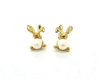"""Rabbit  Stud Earrings. Avon Jewelry. Faux Pearl Belly, Gold Tone. Surgical Posts. Original Box, """"Pearly Bunny"""" Vintage 1990s Spring Jewelry"""