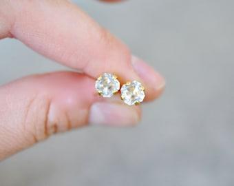 Diamond Stud Earrings Vintage Swarovski Crystal White Diamond Fancy Cut Square Studs 6mm Petite Bridal Brie Wedding Earrings Mashugana
