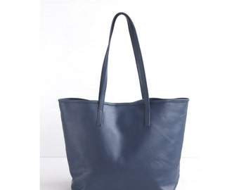 JAIMEE Navy Leather Tote bag. Navy Blue Leather Bag. Tote Zipper Bag. Leather Hangbag. Women Handbag. School Tote Bag. Leather CarryAll