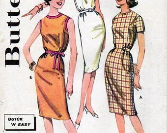 1960s Slim Sheath Dress Pattern Butterick 9799 Quick 'N Easy Vintage Sewing Pattern Bust 30 Petites or Teens