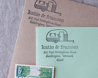 Rustic return address stamp - vintage camper illustration wedding stamp with wood handle Personalized Stamp address label, self inking