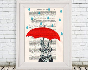 Kitsch Rabbit Painting, Bunny Painting, Hare Painting, Alice in Wonderland, Rainy Rabbit, Bunny Drawing painting acrylic digital Giclee Art