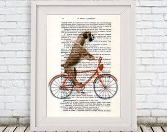 Kitsch Boxer Print, Poster Illustration Acrylic Painting Animal Portrait  Decor Wall Hanging Wall Art Drawing, Dog on Bicycle, Boxer Dog