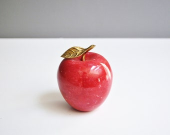 Vintage Alabaster and Brass Apple Paperweight