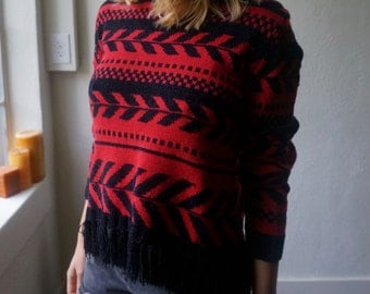 Vintage Crop Top Sweater S M L Red Black Fringe Boho Hippie Gypsy Club Kid Grunge 90s Southwestern Bohemian Folk Mod Chevron Festival Top
