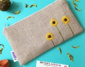 Sunflower Burlap Clutch - Zipper Pouch - Hand Embroidered Clutch - Sunflower Wedding - Bridesmaid Gift