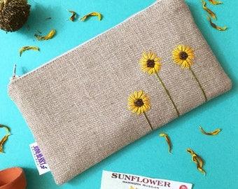 Sunflower Burlap Clutch - Zipper Pouch - Hand Embroidered Clutch - Sunflower Wedding - Bridesmaid Gift