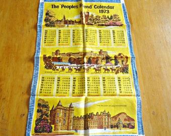 Vintage Tea Towel Souvenir Tea Towel The Peoples Friend Calendar 1973