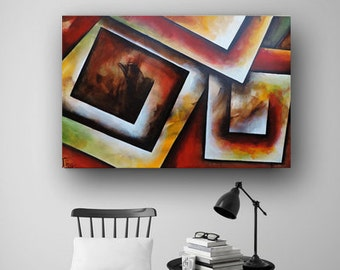 Abstract Painting on Canvas, Vivid Brush Stroke, Red & Green Painting, Original Painting, Squares Geometric Painting Fine Art Heather Day