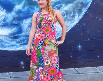 1960s psychedelic hawaiian floral DRESS bright maxi tank spiral fitted pinup aloha vintage // size S / XS