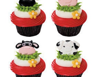 Farm Animal Cupcake Topper Rings - Cow - Pig - Cupcake - Farm Party - Birthday - Party