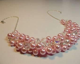 Pink Pearl and Crystal Cluster Necklace, Valentine's Mothers Day, Bridesmaid Wedding Mom Sister Wife Birthday Jewelry Gift