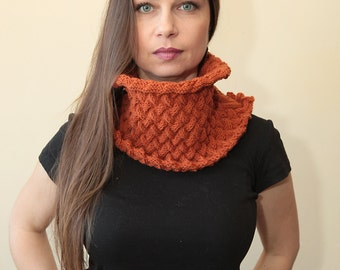 KNIT COWL Unisex pure wool Hand Knitted cowl scarf in Burnt Orange by Solandia winter fashion men women, knitted fashion
