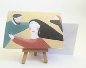 Daydreamers - greeting card card for friend birthday card people dreaming art card people illustration surreal card hipster card  women