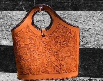 Hand Tooled Leather Tote